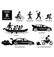 sport games alphabet r icons pictograph vector image vector image