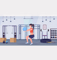 sporty woman doing squat exercises with fitness vector image vector image