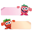 Strawberry and Raspberry Fruits with Sign vector image vector image