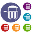 Street food cart icons set vector image