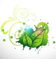 stylish green leaf design vector image vector image