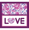 vibrant field flowers love text frame pattern vector image
