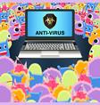 virus computer attack laptop protected antivirus vector image vector image