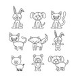 white background with set of hand drawn animals vector image vector image