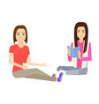 Woman sitting on floor vector image vector image