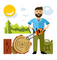 woodcutter flat style colorful cartoon vector image