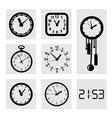 black clocks icons vector image