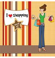 pretty young lady at shopping vector image
