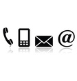 Contact black icons set - mobile phone email