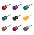 mexican acoustic guitar icon in black style vector image