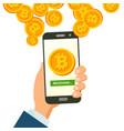 mobile bitcoin receiving concept modern vector image