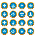 airplane top view icons set simple style vector image vector image