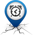 alarm-clock blue icon in crack vector image