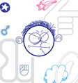 art colorful drawing of angry person education and vector image vector image