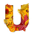 autumn stylized alphabet letter vector image vector image