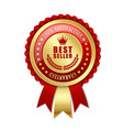 best seller rosette on white background vector image