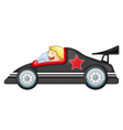 Boy and a racing car vector image vector image