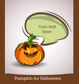 cartoon pumpkin with speech bubble isolated on vector image vector image