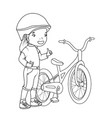 coloring book girl with bicycle vector image vector image