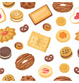 cookies seamless pattern different chocolate vector image vector image