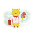 cute bear returned from a trip with a baggage vector image