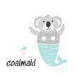 cute little coala mermaid cartoon vector image