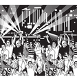 Disco open air crowd young people dance black and vector image vector image