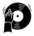 dj hand vinyl disc icon simple style vector image vector image