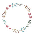doodle heart and leaf circle frame vector image vector image
