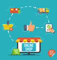 flat design concept for online shopping delivery vector image vector image