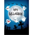 Full moon with cartoon ghosts vector image vector image