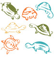 funky turtles icon set vector image vector image