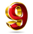 gold number 9 isolated on white background vector image vector image