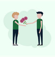 guy gives the girl flowers vector image vector image