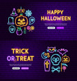 halloween neon website banners vector image