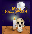 halloween scene with skull on table vector image vector image
