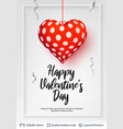 happy valentines day text and hearts on white vector image vector image