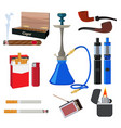 hookah tobacco cigarette and other different vector image vector image