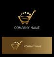 leaf shopping cart organic gold logo vector image