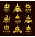 Luxury crown logo set vector image vector image