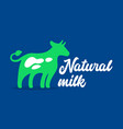 natural milk banner with green cow and typography vector image