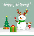 new year and christmas card cute snowman with vector image