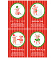 new year of pig holiday festive postcard vector image vector image