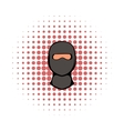 Ninja mask icon comics style vector image