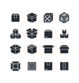 open and closed box black silhouette icons vector image vector image