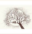 owls family in a tree over full moon background vector image vector image
