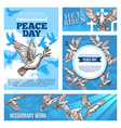 peace day and missionary works banners with doves vector image vector image