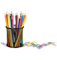 pencils in a pot and paper clips on white ground vector image vector image