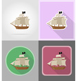pirate flat icons 16 vector image