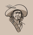 pirate with hat portrait digital sketch hand vector image vector image